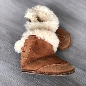 UGG • Baby Suede Lace Up Back Sheepskin Boots